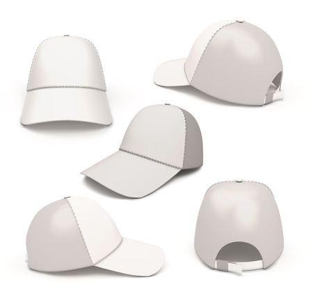 fitted: Set baseball caps from different angles isolated on white background Stock Photo