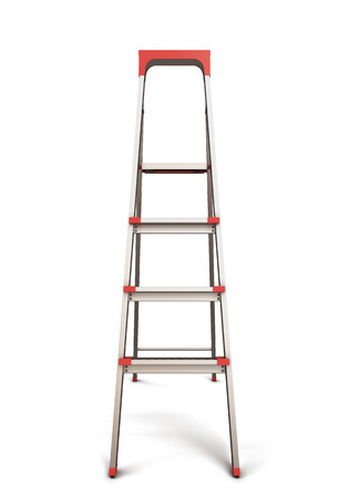 reachability: Stepladder front view isolated on white background.