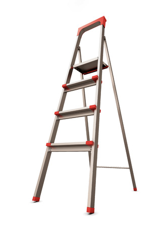 reachability: Stepladder isolated on white background. 3d illustration.
