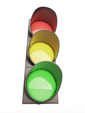 regulate: Traffic light isolated on white background. 3d render image. Stock Photo