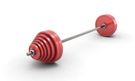 kilos: Barbell isolated on white background. 3d illustration on white.