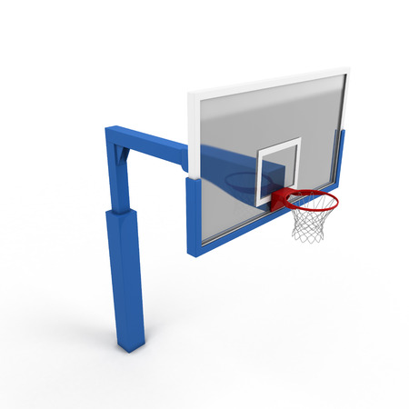 goal cage: Basketball backboard close-up on a white. 3d render image. Stock Photo