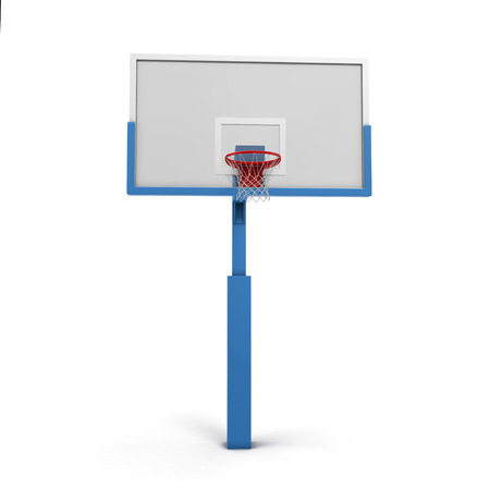 goal cage: Basketball backboard isolated on white background. 3d render image.