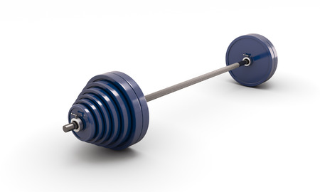 kilos: Blue barbell isolated on white background. 3d render image. Stock Photo