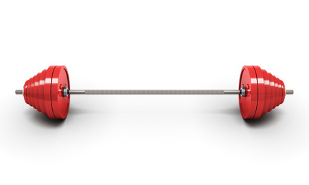 kilos: Red barbell isolated on white. 3d illustration