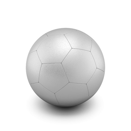 Silver soccer ball isolate on white background. 3d render image. photo