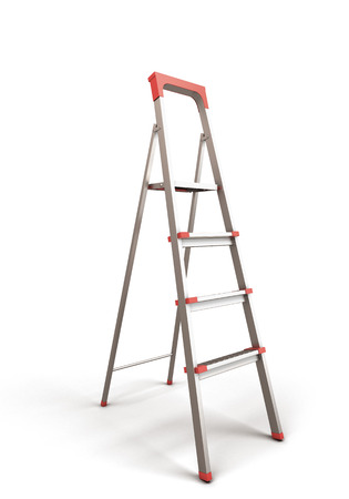 reachability: Stepladder isolated on white baclground. 3d render illustration. Stock Photo