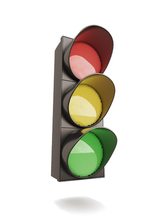 Traffic light isolated on white background. 3d illustration. Фото со стока