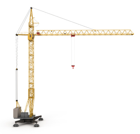 Yellow construction crane isolated on white background. Construction crane  side view. 3d render image.