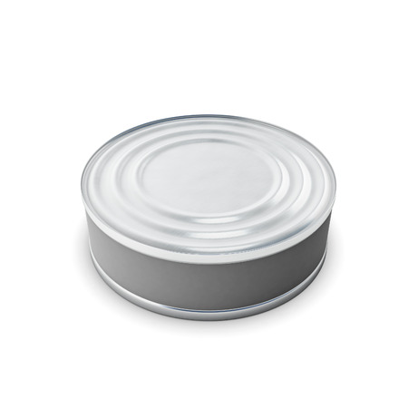 tin can: Closed tin can isolated on white background. Closed tin can for your design. 3d render image.