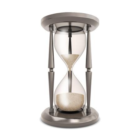 reloj de arena: Reloj de arena aislado en el fondo blanco. Reloj de arena Retro descuenta el tiempo.