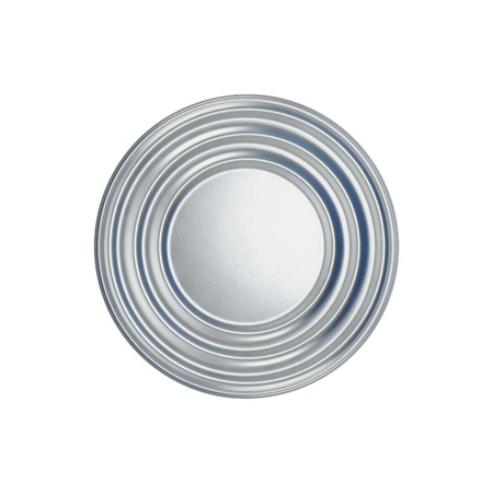 tinned goods: Tin can on white background, view from the top. 3d illustration. Stock Photo
