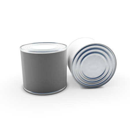 chrome base: Tin cans isolated on white background. 3d illustration.