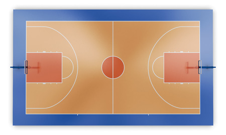 hard court: Basketball court top view. 3d render image.