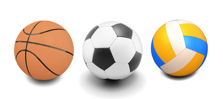 roundness: Set of basketball, soccer and volleyball balls on white. 3d render image.