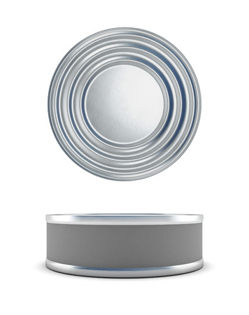 chrome base: Tin cans top view and a front isolated on white background. 3d render image.