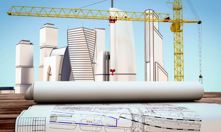 contractor: Working drawings on the table on the background of the city under construction. 3d render image.