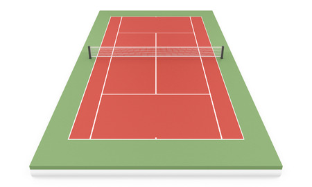 concrete court: 3d illustration tennis court isolated on white background