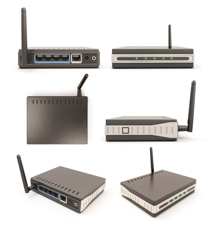 dsl: View from different angles wireless router isolated on white background. 3d illustration. Stock Photo