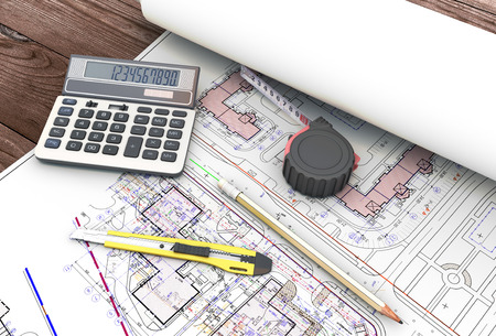 architect tools: Tools of the architect in the drawings. 3d illustration. Stock Photo