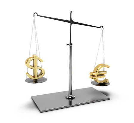 Balance with euro and dollar. Classic scales of justice with euro and dollar symbols,  isolated on white background