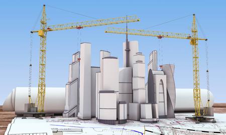 Building under construction with crane. 3d render image. photo