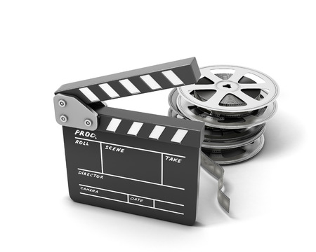 movie production: Clapboards  and film reel isolated on white background. 3d illustration. Stock Photo