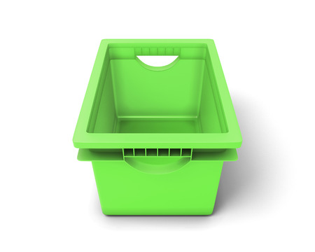 organised: Green plastic box for clothes on a white. 3d illustration.