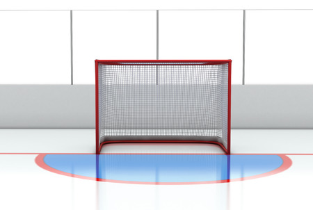 goal cage: 3d illustration Hockey gates at hockey rink