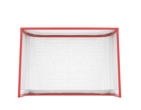 hockey sobre cesped: Puertas de hockey aisladas sobre fondo blanco. 3d ilustración. Foto de archivo