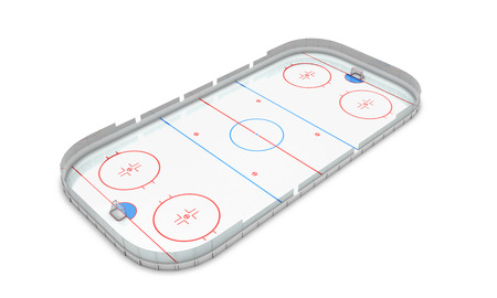 Ice hockey area perspective view on a white background photo