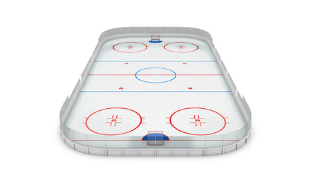Ice hockey area on a white background. 3d illustration.