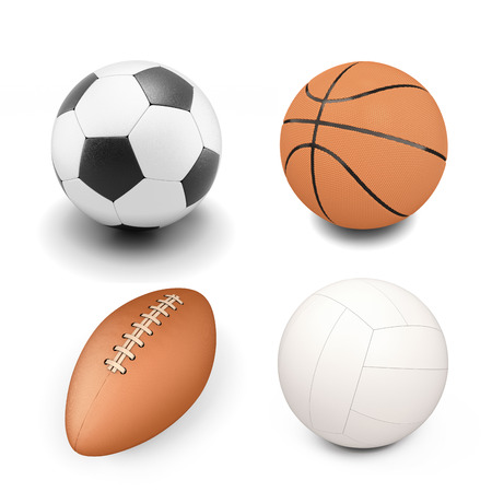 sport object: Set of sport ball isolated on white background. Volleyball ball, soccer ball, rugby ball, basketball.