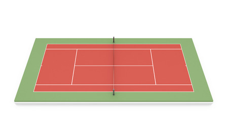 hard court: Tennis clay court on a white. 3d illustration.