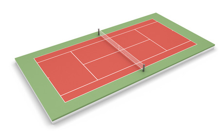 tennis clay: Tennis clay court isolated on white background. 3d render image.