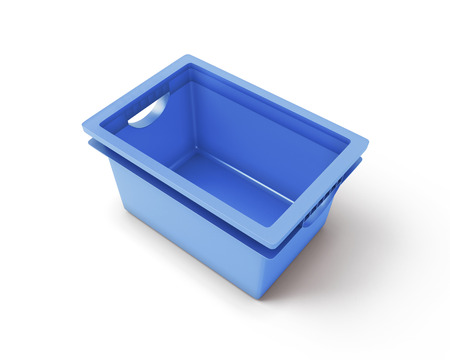 organised: Blue plastic box for toys isolated on white background. 3d render image.