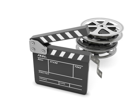 Clapboards  and film reel isolated on white background. 3d render image. photo