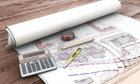 青写真のホーム拡張計画とツールです。3 d イラスト。