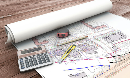 Home extension blueprint plan and tools. 3d illustration.