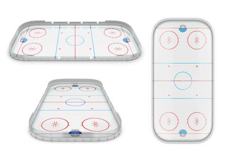 Ijshockey gebied verschillende gezichtspunten. 3D-afbeelding. Stockfoto