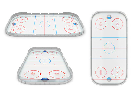 Ice hockey area different of view. 3d illustration.