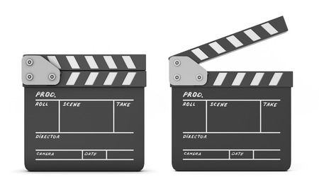 Open and closed clapboards isolated on a white background. 3d illustration illustration
