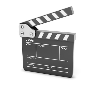 Open clapboard isolated on a white. 3d render image. Stock Photo