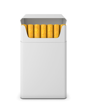 Pack of cigarettes opened on white background. Pack of cigarettes front view. 3d render image. photo