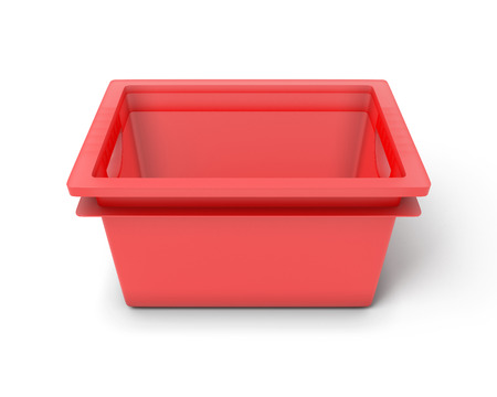 organised: Red plastic box for toys isolated on white background. Stock Photo