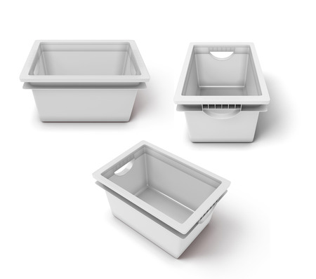 organised: Set of white plastic boxs for clothes or toys isolated on white background. 3d illustration.
