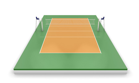 indoor court: Volleyball court or field isolated on a white. 3d illustration.