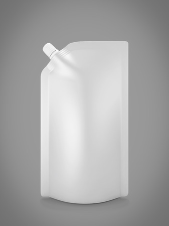 spout: Blank spout pouch with cap or doy pack isolated on white. 3d illustration.