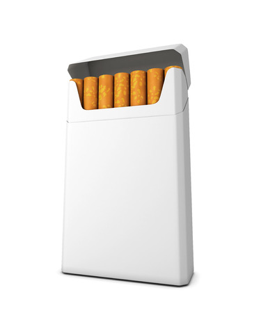 Pack of cigarettes isolated on white background. 3d render image. photo