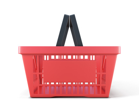 Shopping plastic basket front view isolated on white background.